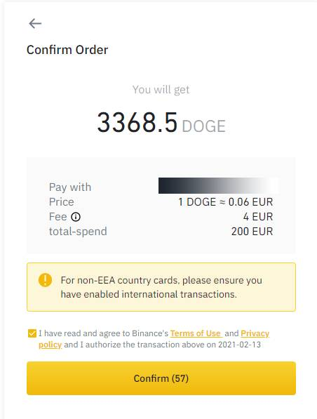 Final step to buy Dogecoins